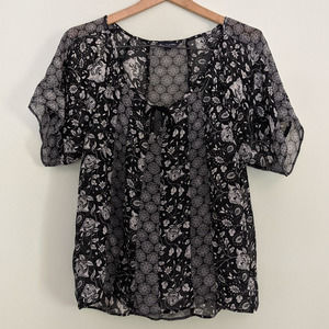 AEO Sheer Floral Print Blouse Small